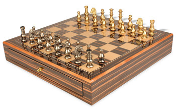Classic French Brass Chess Set with Macassar Chess Case