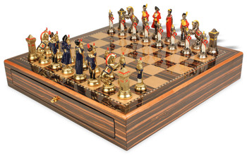 Large Napoleon Theme Chess Set Hand Painted Brass & Nickel Pieces with Macassar Chess Case
