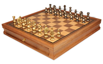 Classic French Brass Chess Set with Walnut Chess Case