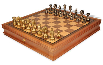 Grande Persian Brass Chess Set with Walnut Chess Case
