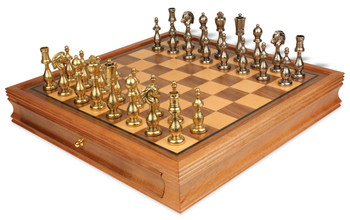 Arabesque Brass & Nickel Plated Staunton Chess Set with Walnut Chess Case