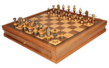 Silhouette Knight Brass & Wood Chess Set with Walnut Chess Case