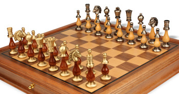 Persian Brass & Wood Staunton Chess Set with Walnut Chess Case