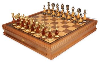 Persian Brass & Wood Staunton Chess Set with Walnut Chess Case