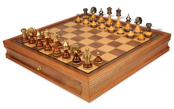 Persian Brass & Wood Chess Set with Walnut Chess Case