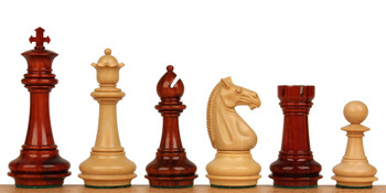 "Khan's Stallion Staunton Chess Set in African Padauk & Boxwood - 4.25"" King"