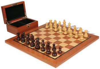 "German Knight Staunton Chess Set in Rosewood Boxwood with Mahogany Chess Board & Box- 2.75"" King"