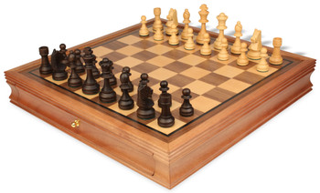 "Standard Staunton Chess Set with Walnut Chess Case - 3.25"" King"