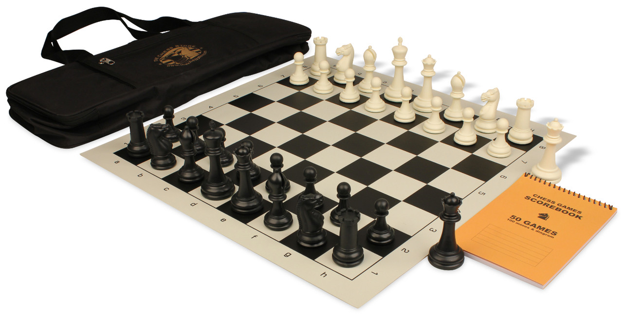 Zukert series deluxe bag chess set package black ivory pieces black the chess store - Deluxe chess sets ...