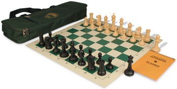 Zukert Series Deluxe Bag Chess Set Package Black & Camel Pieces - Green