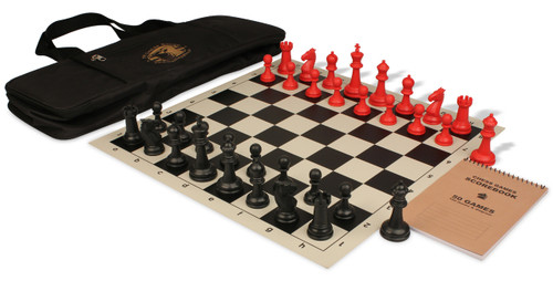 Guardian series deluxe bag chess set package black red pieces black the chess store - Deluxe chess sets ...