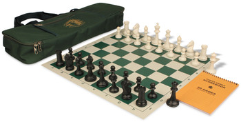 ProTourney Series Deluxe Bag Chess Set Package Black & Ivory Pieces - Green