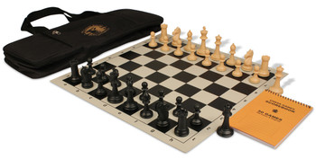 ProTourney Series Deluxe Bag Chess Set Package Black & Camel Pieces - Black