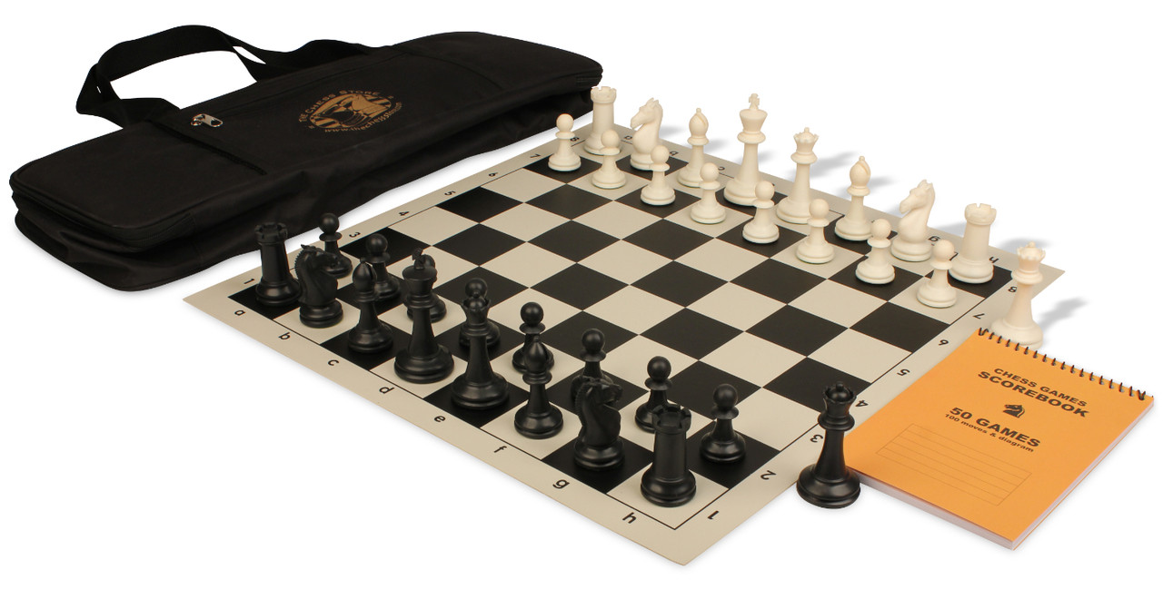 Protourney series deluxe bag chess set package black ivory pieces black the chess store - Deluxe chess sets ...