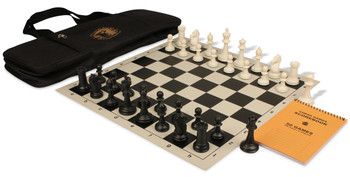 ProTourney Series Deluxe Bag Chess Set Package Black & Ivory Pieces - Black