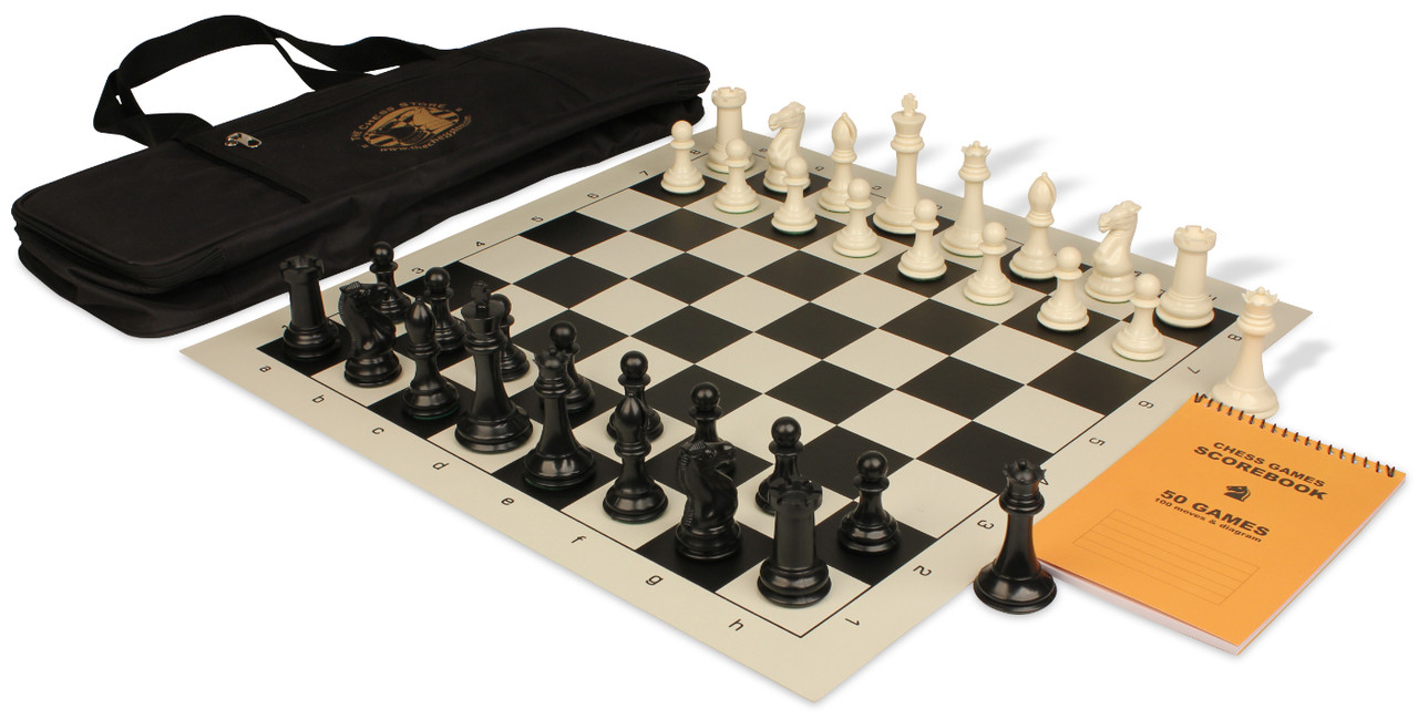 Professional deluxe bag chess set package black ivory pieces black the chess store - Deluxe chess sets ...