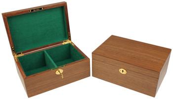 Walnut Chess Piece Box With Green Baize Lining - Small
