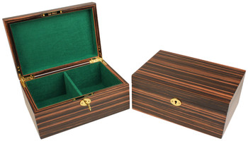 Macassar Ebony Chess Piece Box With Green Baize Lining- Large