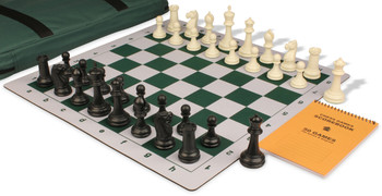 Zukert Series Jumbo-Floppy Chess Set Package Black & Ivory Pieces - Green