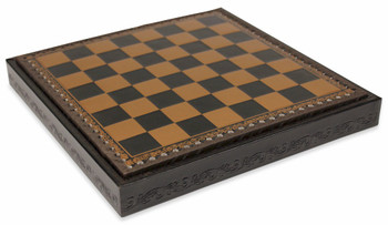 "Black & Gold Leatherette Chess Case - 1.75"" Squares"
