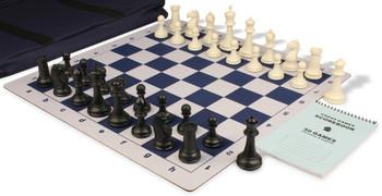 Zukert Series Jumbo-Floppy Chess Set Package Black & Ivory Pieces - Blue