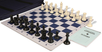 Professional Jumbo-Floppy Chess Set Package Black & Ivory Pieces - Blue