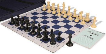 Professional Jumbo-Floppy Chess Set Package Black & Camel Pieces - Blue
