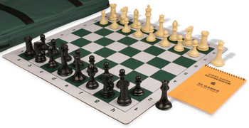 Professional Jumbo-Floppy Chess Set Package Black & Camel Pieces - Green