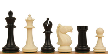 "Park Game Series Plastic Chess Set Black & Ivory Pieces - 3.75"" King"