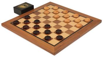 Walnut Checker Board Set (Center Dot Wooden Checkers)