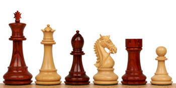 "Bridled Stallion Staunton Chess Set in Red Sandalwood & Boxwood - 4.75"" King"