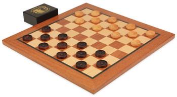 Mahogany Checker Board Set (Center Dot Wooden Checkers)