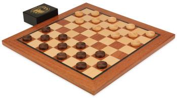 Mahogany Checker Board Set (Beaded Wooden Checkers)