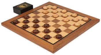 Walnut Checker Board Set (Beaded Wooden Checkers)