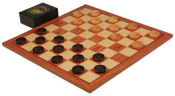 Rosewood Checker Board Set (Center Dot Wooden Checkers)