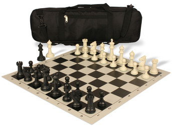 Guardian Carry-All Plastic Chess Set Black & Ivory Pieces - Black