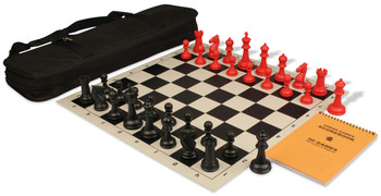 Guardian Large Carry-All Chess Set Pakage Black & Red Pieces - Black