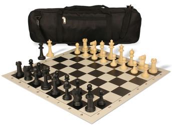 Park Game Carry-All Plastic Chess Set Black & Sandal Pieces - Black