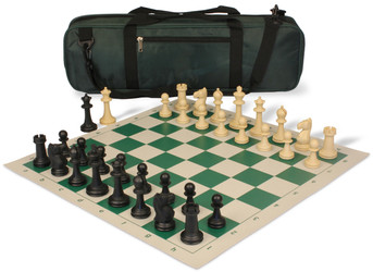 Park Game Carry-All Plastic Chess Set Black & Sandal Pieces - Green