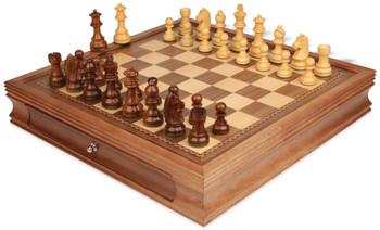 "German Knight Staunton Chess Set in Acacia & Boxwood with Walnut Chess Case - 3.25"" King"