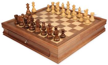 "French Lardy Staunton Chess Set in Acacia & Boxwood with Walnut Chess Case - 3.25"" King"
