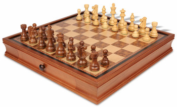 "French Lardy Staunton Chess Set in Acacia Wood & Boxwood with Walnut Chess Case - 3.75"" King"