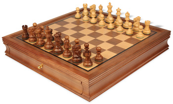 """Deluxe Old Club Staunton Chess Set in Babul Wood & Boxwood with Walnut Chess Case - 3.25"""" King"""