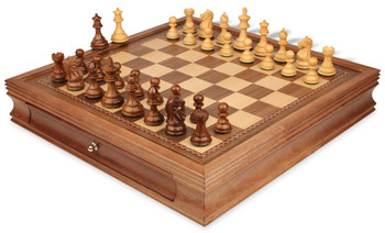 "Fierce Knight Staunton Chess Set in Babul Wood & Boxwood with Walnut Chess Case - 3"" King"