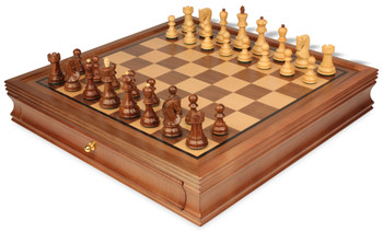 "Yugoslavia Staunton Chess Set in Babul Wood & Boxwood with Walnut Chess Case - 3.25"" King"