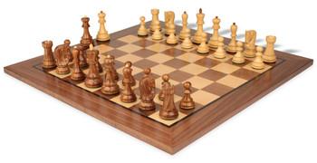 "Yugoslavia Staunton Chess Set in Babul Wood & Boxwood with Walnut Chess Board - 3.25"" King"