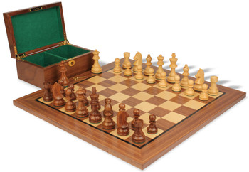 "German Knight Staunton Chess Set in Golden Rosewood & Boxwood with Walnut Board & Box - 3.25"" King"