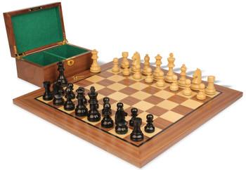 "German Knight Staunton Chess Set in Ebonized Boxwood & Boxwood with Walnut Board & Box - 3.25"" King"