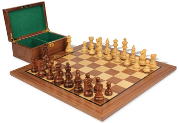 "French Lardy Staunton Chess Set in Golden Rosewood & Boxwood with Walnut Board & Box - 3.25"" King"