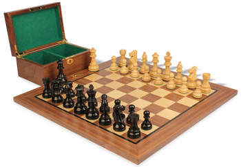"French Lardy Staunton Chess Set in Ebonized Boxwood & Boxwood Walnut Board & Box Package - 2.75"" King"